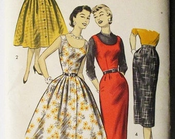 60% OFF SALE 1950s Vintage Sewing Pattern Advance 8029 Misses Jumpers & Skirts Pattern Size 12 Bust 30 Uncut