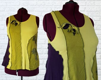 Colorblock Tank Top Summer Shirt XL Eco Friendly Recycled Clothing Art To Wear Eggplant Purple Olive Neon Green