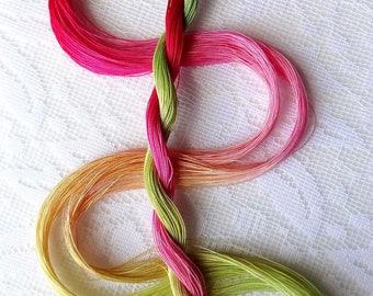 "Size 80 ""Rhubarb Pie"" hand dyed thread 6 cord cordonnet tatting crochet cotton"