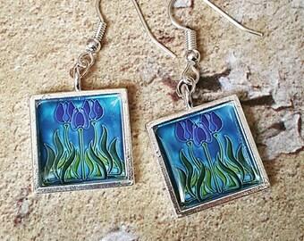 Art Nouveau....... Blue Tulips Earrings