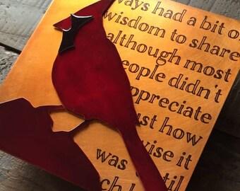 Wise Cardinal Copper Bird Art, 5x5 inches