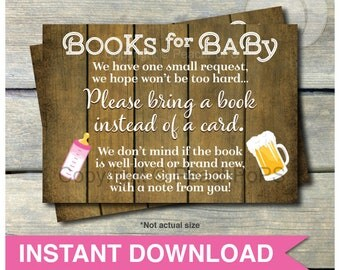 Bring a Book - Baby Shower Insert - A Baby is Brewing - Rustic Wood Style Beer - Pink - DIGITAL Printable - INSTANT DOWNLOAD