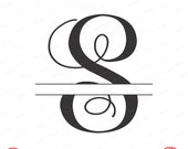 Digital Cut File, Split Vine Letters - Letter S,  S, Split S,  Monogram, Vinyl Cutting File, SVG - DXF - EPS - Silhouette, Cricut