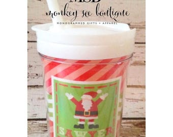 ON SALE personalized Christmas santa everlasting toddler tumbler with straw - custom straw tumbler - toddlers and kids - holiday design