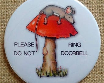 "3.5"" Big Door Magnet, Please Do Not Ring Doorbell! Cute Mouse Sleeping On Toadstool, for Baby Sleeping, Night Shift Worker Etc."