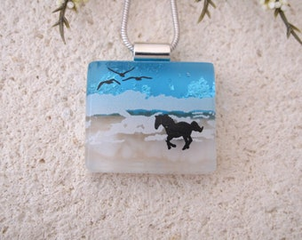 Petite Beach Horse Necklace, Dichroic Necklace, Equestrian, Dichroic Jewelry, Fused Glass Jewelry, Dichroic Pendant, ccvalenzo, 080817p100