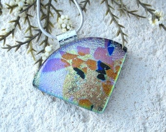 OOAK Handmade Jewelry, Gold Pink Blue Wedge Necklace, Dichroic Glass Jewelry, Fused Glass Jewelry, Dichroic Pendant, ccvalenzo, 123017p100