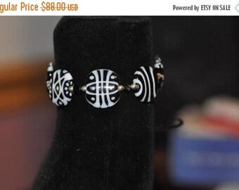 Flash Sale Black and White Lampwork Bracelet