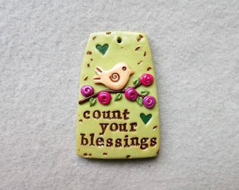 Inspirational Word Pendant/Bird Pendant/Nature Theme Pendant - Count Your Blessings