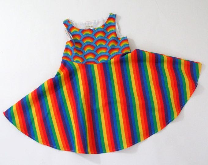 Girls Dress, Toddler Dress, Girls Dresses, Rainbow Dress, Rainbow Stripes Dress, Twirl Dress, Circle Skirt Dress, Size 4T