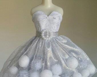 Silver Glitter pom-pom dress for Blythe and Pullip