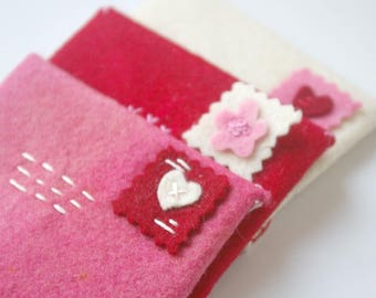 Valentine's Envelopes for Kids: Valentine's Day Love Notes, Pretend Mail (Hand Dyed 100% Wool Felt) Waldorf Inspired Toy, Set of 3