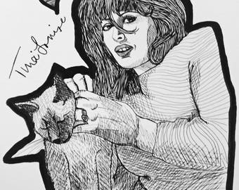 Tina Louise 9x12 ink line drawing with cat