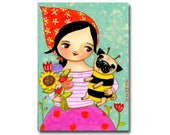 ORIGINAL Bumble Bee Pug painting Spring time floral pug painting sweet babushka girl and pug dog folk art by Tascha