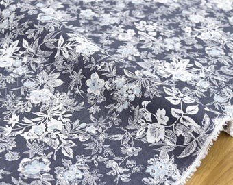 Japanese Fabric 100% linen floral - grey, blue -  50cm