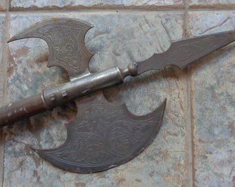 "Vintage 73"" Etched Steel Halberd Battle Axe Wood Handle Medieval Renaissance Weapon Home Decor Man Cave"