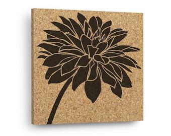 DAHLIA FLOWER Mix & Match Floral Cork Decor Art Tiles Or Kitchen Trivet - Wall DéCork