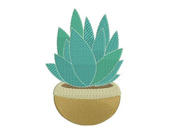 Succulent Plant 2 Machine Embroidery File design 13x18 inch hoop