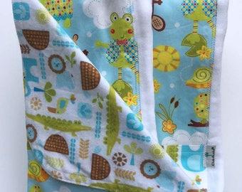 Newborn Gift Set - Polka Dot Pond & The Wild Bunch Blanket and Burp Cloths