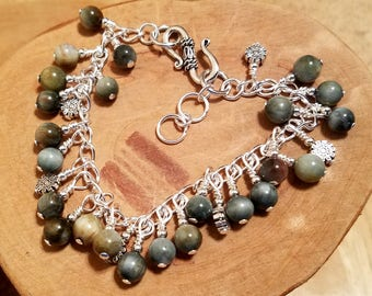 Mourning Dove eagle eye agate gemstone crystal cha cha chain bracelet ... and it's adjustable too!