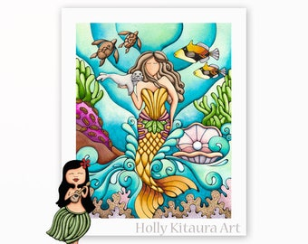 Mermaid and Baby Monk Seal, Painting Art Print Artwork Beach Decor Underwater Ocean Wall Hanging Colorful Fish Turtles Pearl Shell Tropical