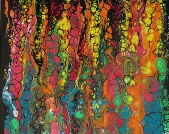 """Acrylic abstract poured painting. Original 8x10""""  FLOWER GARDEN  free US shipping"""