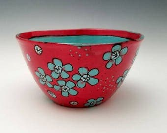 Small Ceramic Bowl Red Bowl Bright Colorful Wheel Thrown Bowl