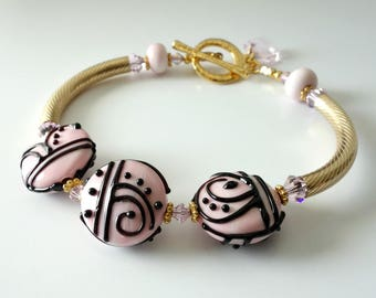 Lampwork Bangle Bracelet, Pink and Black, Zendoodle Designs, 14k Gold Filled, Swarovski Crystals, Beaded Jewelry, Beaded Bracelet, OOAK
