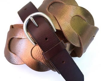 Metallic Bronze Glam Leather Guitar Strap Handmade from Eco-Friendly Leather Belts, Adjustable Length, Made in Seattle USA, Unisex, OOAK
