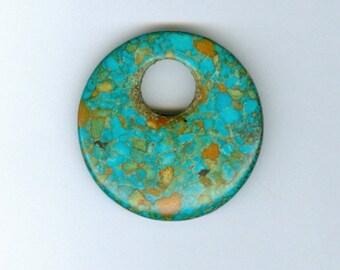 Gogo Donut Pendant, 40mm Mosaic Stabilized Turquoise Gemstone Pi Donut GOGO Focal Pendant 5153