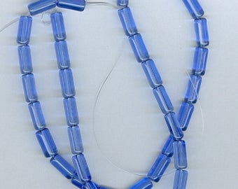 CLEARANCE 4x10mm Royal Blue Glass Tube Beads