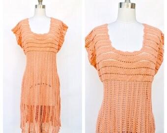 peach crochet boho dress / extra large