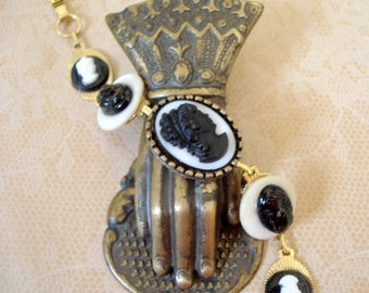 Vintage Glass Cameo with Mother of Pearl Buttons, Black Glass and Resin Cameos, Bracelet