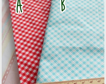 Gingham Cotton Fabric Half Yards 2 colors to choose