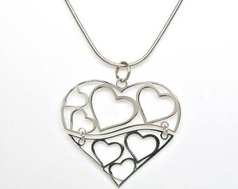 SALE Swinging Hinged Hearts in Heart Sterling Silver Charm Pendant Customize no. 2118