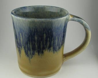 Handmade Pottery Ceramic Cobalt Blue and Straw Yellow Mug By Powers Art Studio