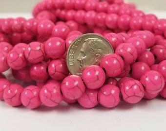 52 Pink Howlite Beads 8MM round (H7123)