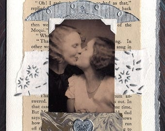 Before the Moon Lesbian Love Wedding Collage Card