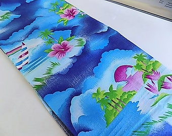 Vintage Cotton Floral Flower Fabric Hawaiian Island Tropics