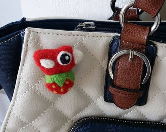 Brooch pin wool felt needle felted birdie bird strawberry