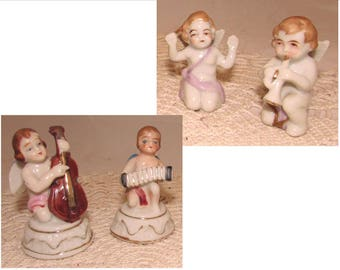 Two Pairs Vintage Porcelain Angels Cherubs Musicians, cello, accordion, horn trumpet, Figurines made in Japan