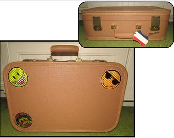 Small Vintage Hard Side Tan Starline Suitcase, 60s, luggage, travel
