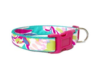 SALE ~ Dog Collar Made from Lilly Pulitzer 2016 Safari Sighted Fabric ~ LARGE Only