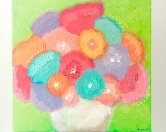 Palette Knife Flower Art. Impasto painting. Palette knife painting. Textured flower painting. Vase of Flowers Painting. Colorful Wall art.