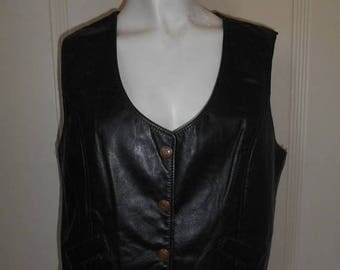 Closing Shop 40%off SALE Vintage 70's leather  snap button up Vest       black    Harely Davidson    womens women ladies clothing clothes