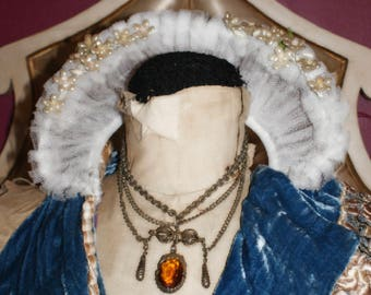 Antique Baroque Bow Drippy Necklace with Topaz like Jewel