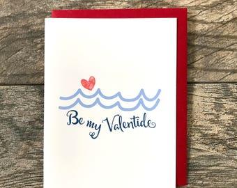 Be My Valentide Greeting Card, Hand Glittered Card, Blank Inside, Valentine, Love, Love Card, Nautical Card, Ocean, Seaside, Beach, Waves