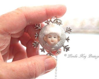 Snowflake Girl Doll Necklace Silver Sweet Bisque German Doll Head Necklace Winter Snow Pendant