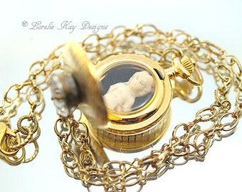 Petite Frozen Charlotte Tiny Pocket Watch Necklace One-of-a-Kind Tiny Frozen Charlotte Delicate Petite Pendant