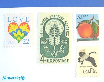 Fairy Tale Forest Postage, Love Heart - Peach or Pear - Bird - Woods Stamps, Mail 20 Wedding Invitations 2 oz 71 cents 2018 postage unused